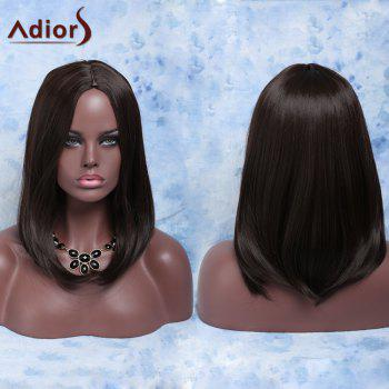 Fashion Medium Straight Deep Brown Centre Parting Synthetic Hair Wig For Women