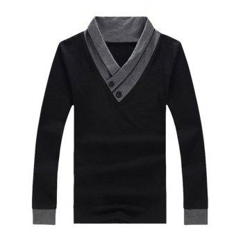 Two Tone Buttoned Long Sleeve T-Shirt