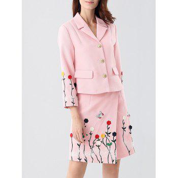 Embroidered Button Up Jacket and Asymmetric Wrap Skirt
