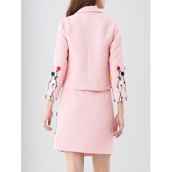 Embroidered Button Up Jacket and Asymmetric Wrap Skirt - PINK XL