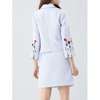 Embroidered Button Up Jacket and Asymmetric Wrap Skirt - BLUE BLUE
