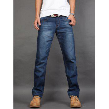 Straight Fit Zipper Fly Mid Waisted Jeans