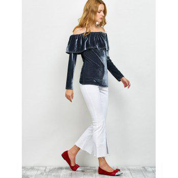 Off Shoulder Ruffles Velvet T-Shirt - S S