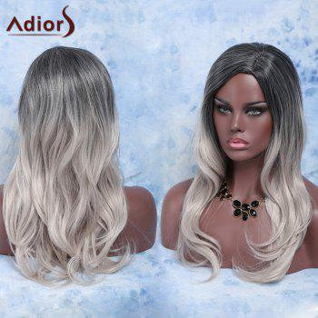 Trendy Long Slightly Curled Mixed Color Side Parting Synthetic Hair Wig For Women