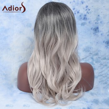 Trendy Long Slightly Curled Mixed Color Side Parting Synthetic Hair Wig For Women - COLORMIX