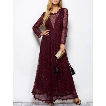 Long Sleeve Mesh Maxi Evening Dress