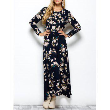 Floral Print Maxi Boho Dress with Long Sleeve
