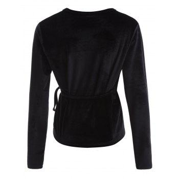 Long Sleeved Velvet Wrap Top - BLACK L