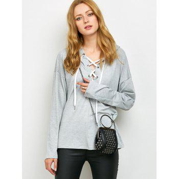 Lace Up Long Sleeve Hooded T Shirt - GRAY GRAY