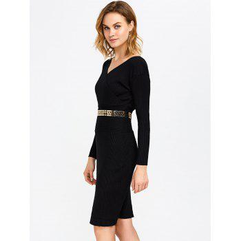 Surplice Ribbed Pencil Knit Fitted Jumper Dress - BLACK ONE SIZE