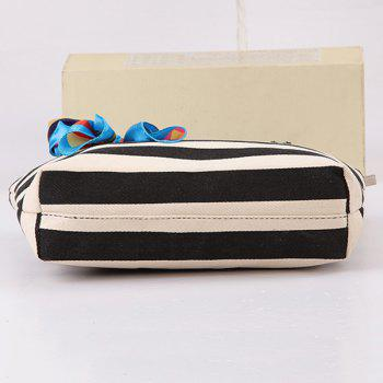 Canvas Colour Block Stripe Shoulder Bag - BLACK