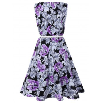 Sleeveless Floral Print A Line Swing Vintage Dress - PURPLE L