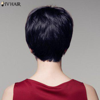 Short Neat Bang Sunny Straight Siv Hair Real Natural Hair Wig - JET BLACK