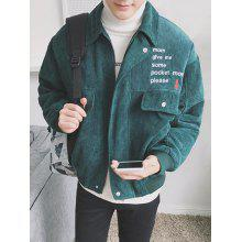 Turndown Collar Zip Up Embroidery Corduroy Jacket