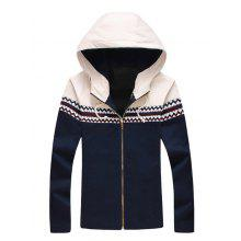 Hooded Zigzag Pattern Panel Zip Up Jacket