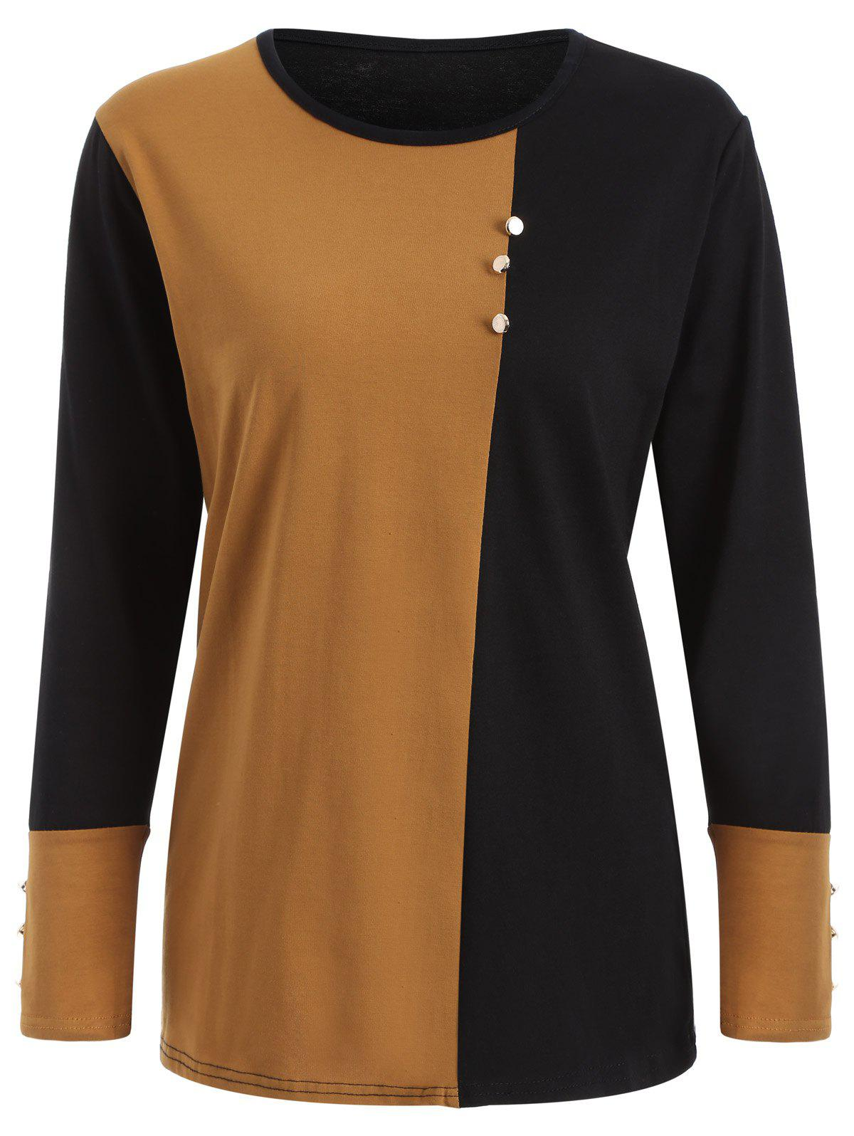 Plus Size Panel T-Shirt with Buttons - LIGHT COFFEE XL