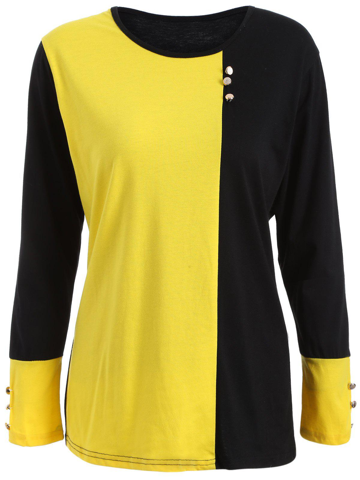 Plus Size Panel T-Shirt with Buttons - YELLOW/BLACK 2XL