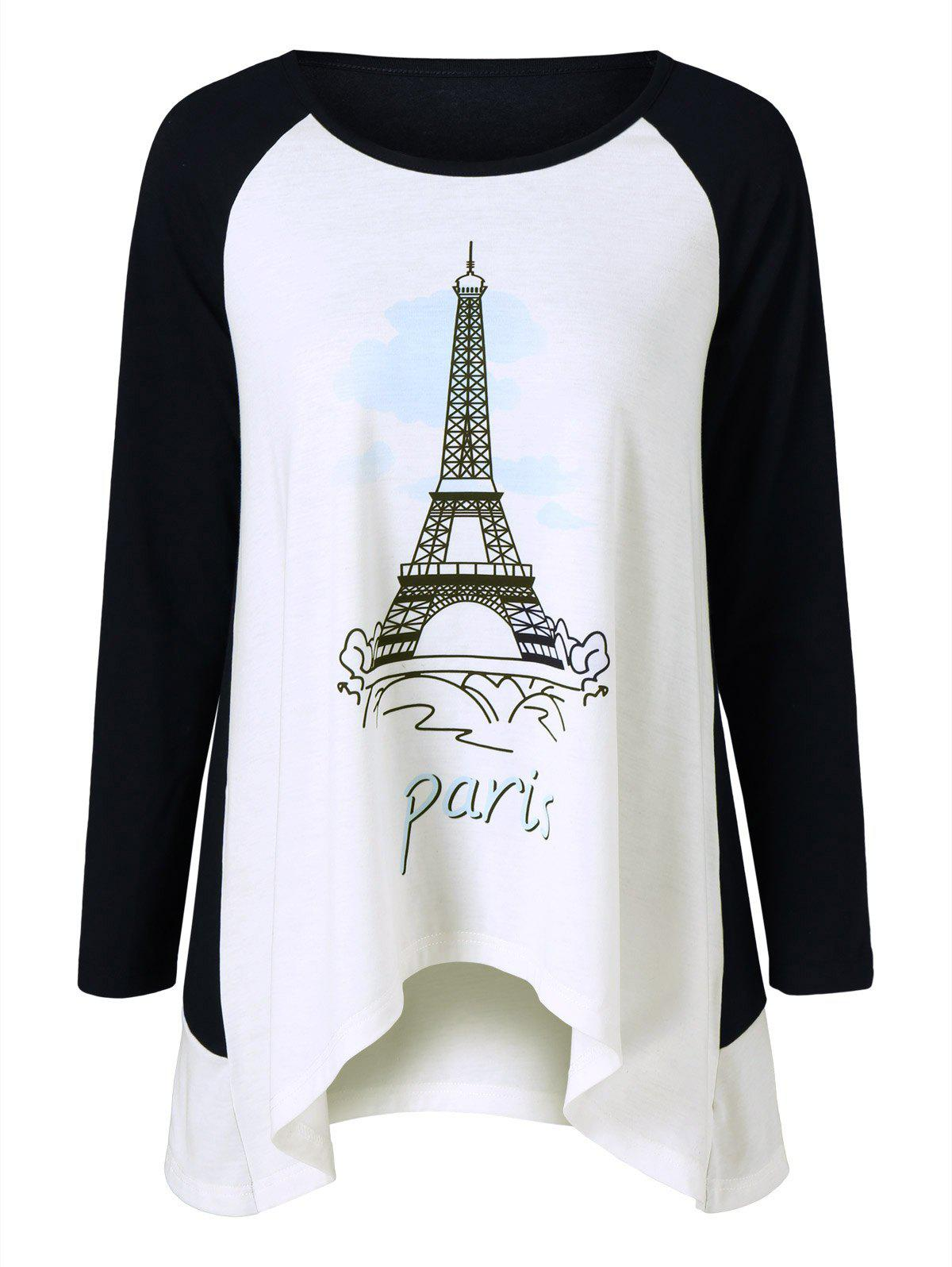 Eiffel Tower Print T-ShirtWomen<br><br><br>Size: L<br>Color: WHITE AND BLACK