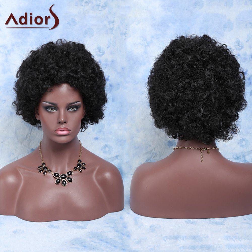 Women's Stylish Heat Resistant Fiber Afro Wig - BLACK BROWN