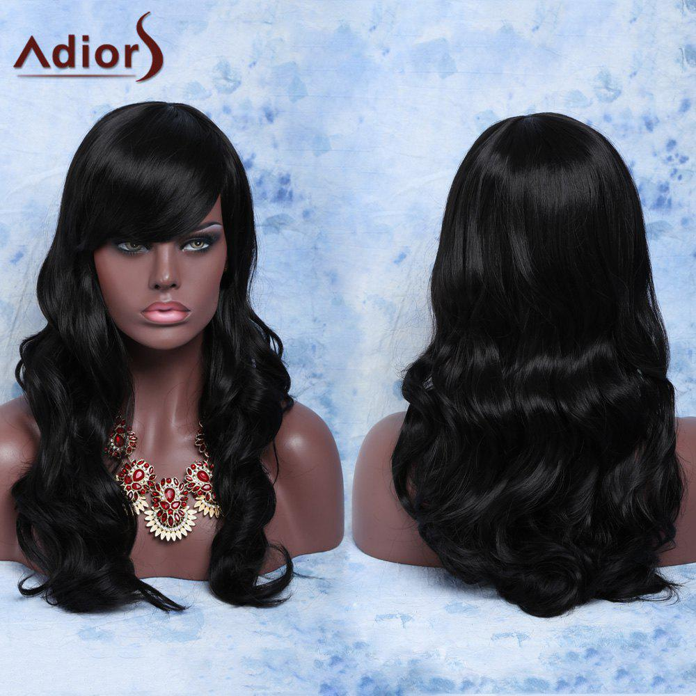 Trendy Long Curly Natural Black Full Bang Women's Synthetic Capless Wig - BLACK