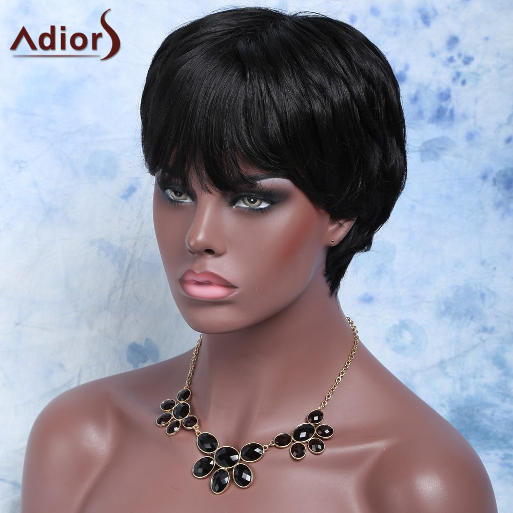 Short Fluffy Side Bang Straight Synthetic Wig - BLACK