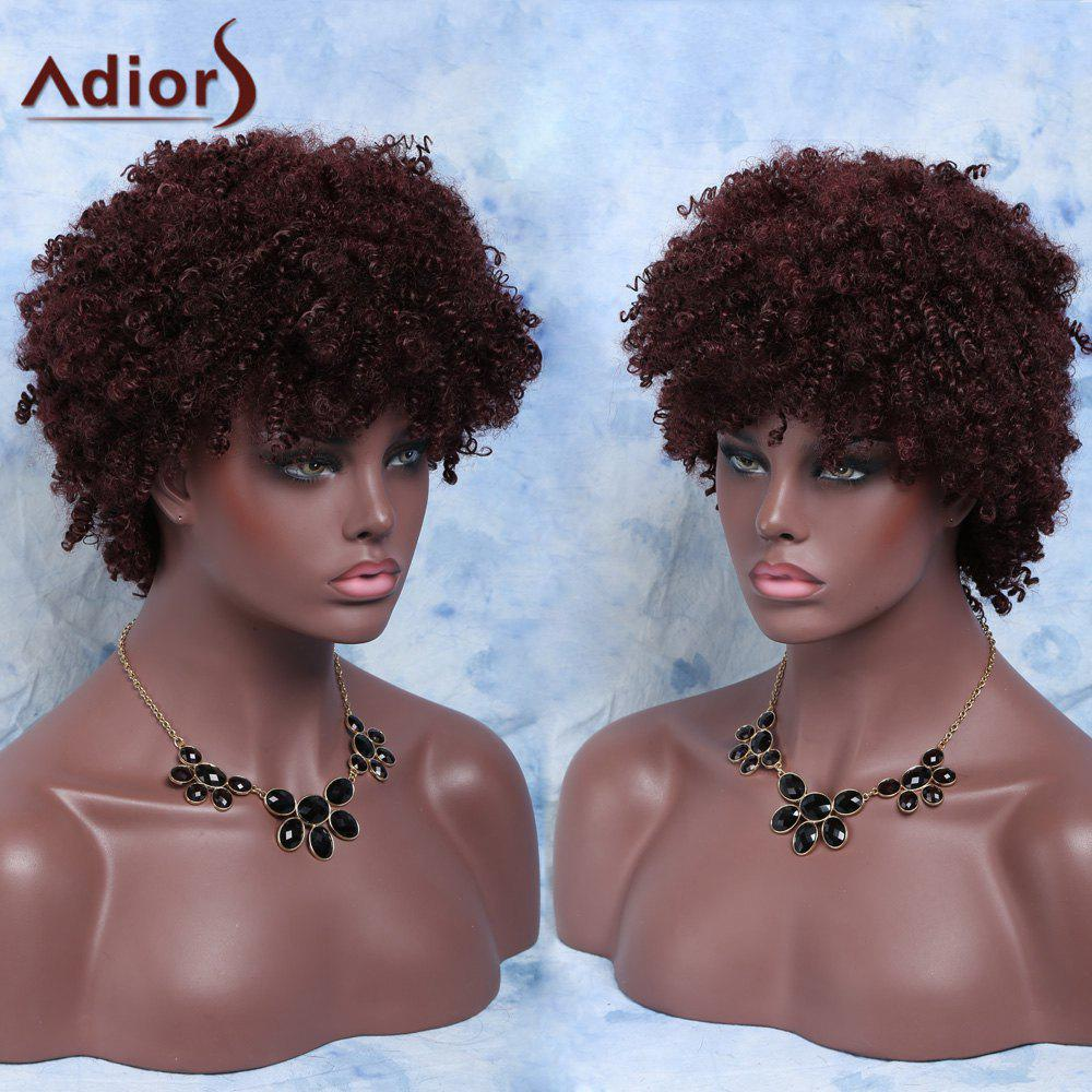 Fluffy Capless Short Afro Curly Full Bang Synthetic Wig short full bang afro curly black prevailing women s synthetic hair wig