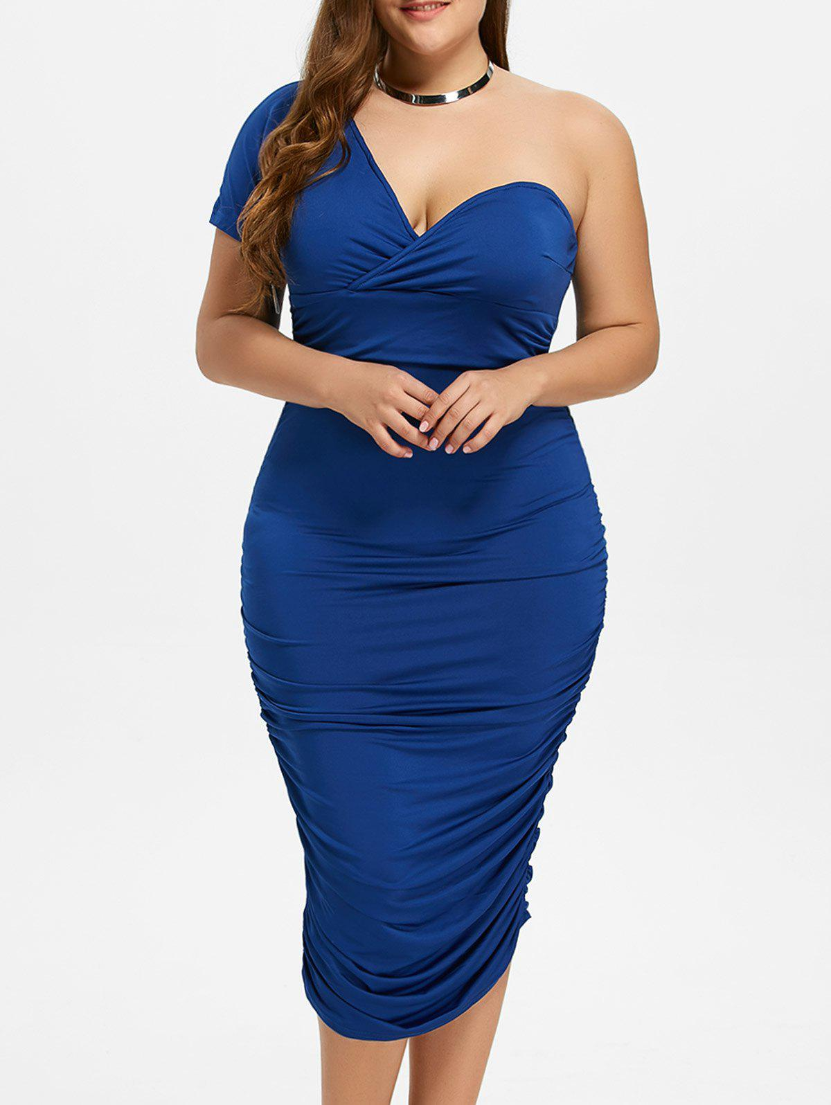 2018 One Shoulder Bodycon Prom Plus Size Cocktail Bandage Dress