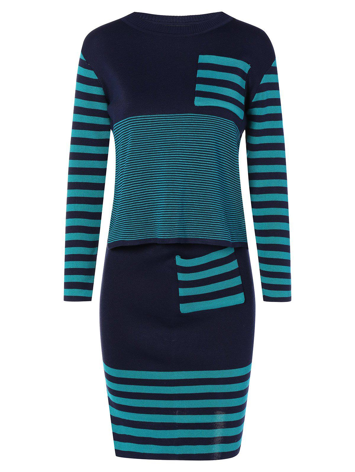 Striped Knitwear and Slit Skirt Twinset - BLUE ONE SIZE