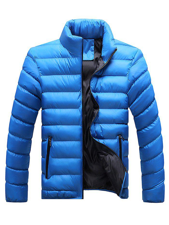 Stand Collar Plus Size Zip Up Down Jacket - ROYAL L