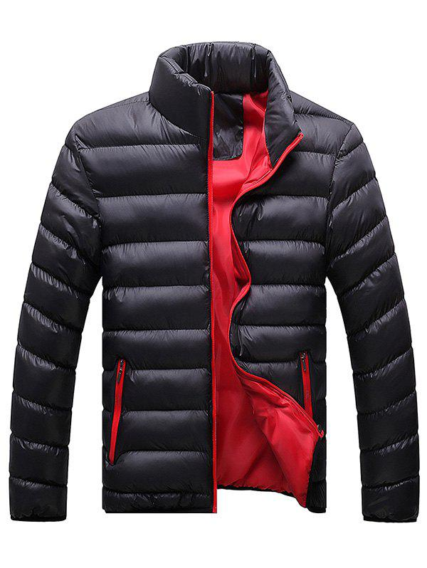Stand Collar Plus Size Zip Up Down Jacket - BLACK 2XL