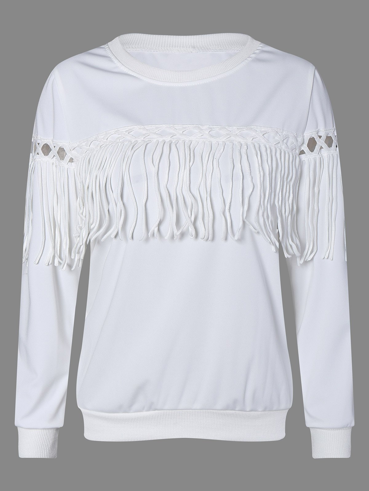 Fringed Openwork Sweatshirt - WHITE 3XL
