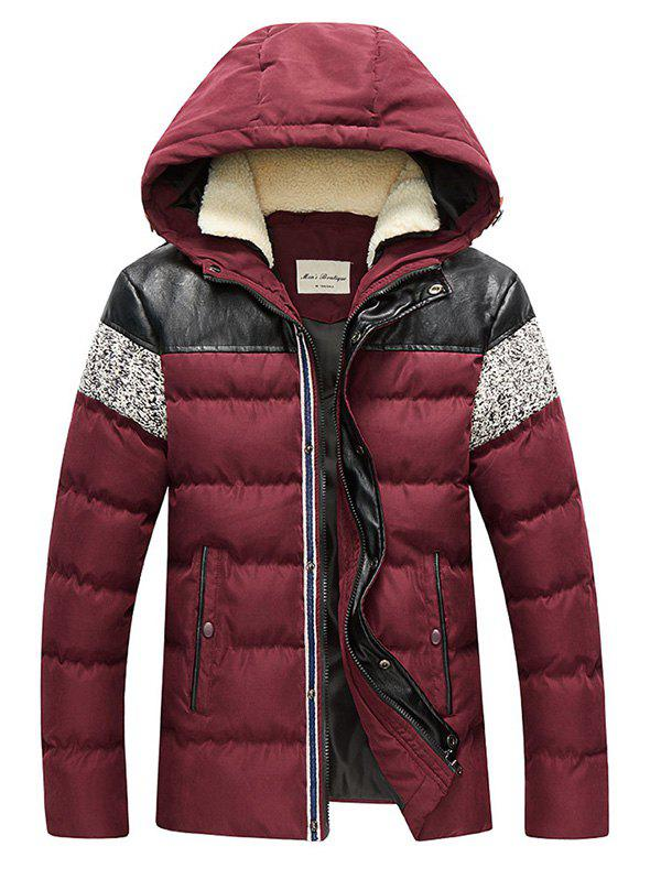 Zip Up Faux Leather Panel Hooded Padded Jacket - RED XL