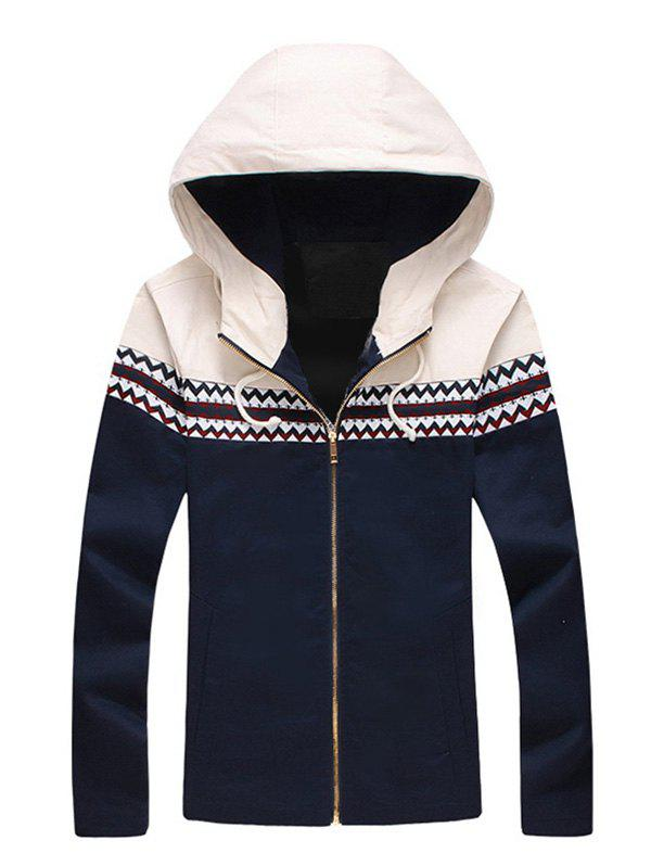 Hooded Zigzag Pattern Panel Zip Up Jacket - CADETBLUE L