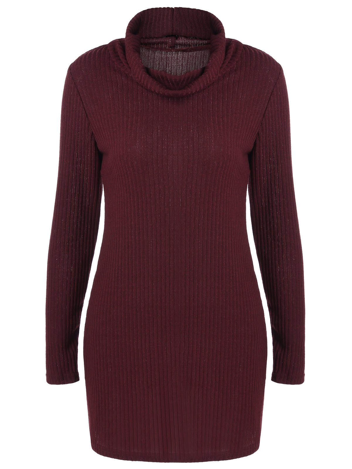 Ribbed Pullover Turtleneck Sweater - WINE RED S