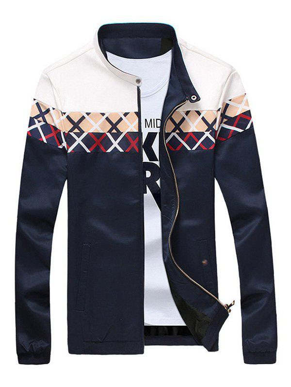 Stand Collar Criss Cross Pattern Zip Up Jacket - DEEP BLUE M