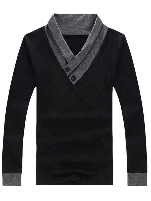 Two Tone Buttoned Long Sleeve T-Shirt - BLACK L