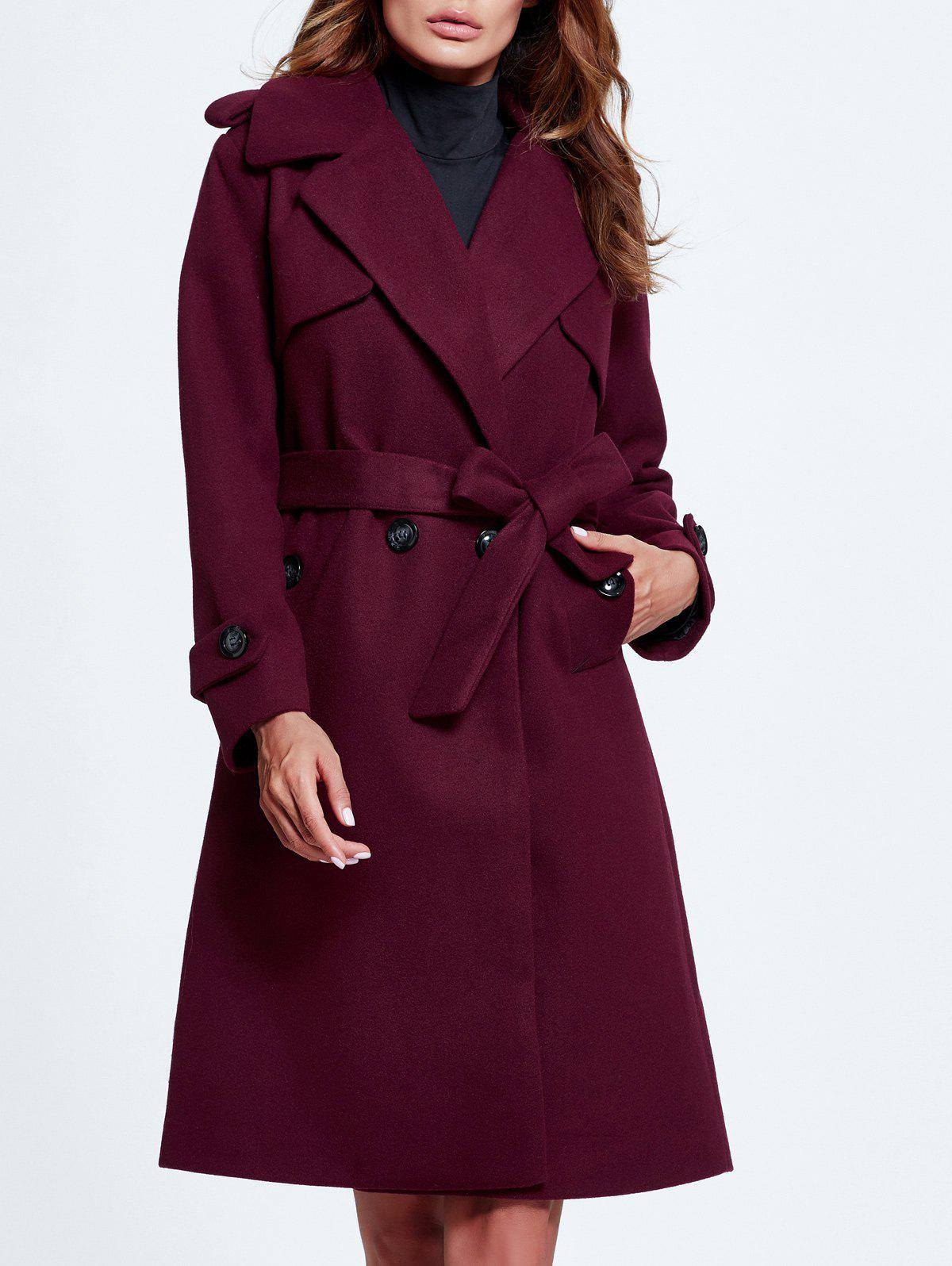 Lapel Double Breasted Belted Wool Blend Coat - BURGUNDY 2XL