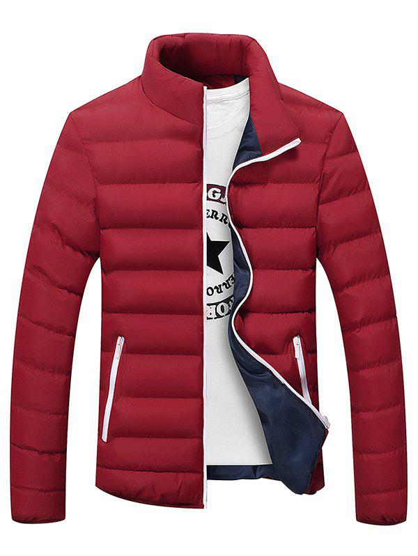 Stand Collar Plus Size Color Block Zipper Down Jacket - RED L