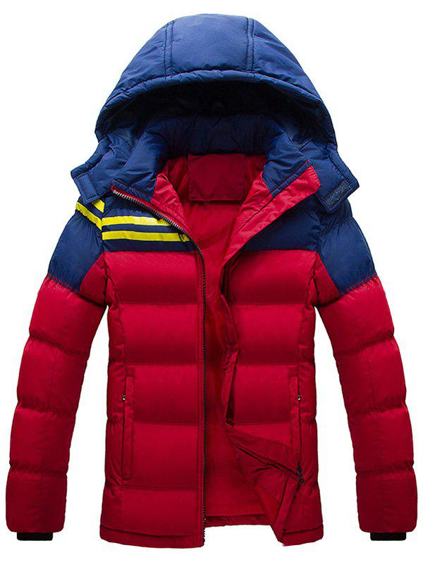 Hooded Plus Size Color Block Spliced Stripe Down Jacket - RED XL