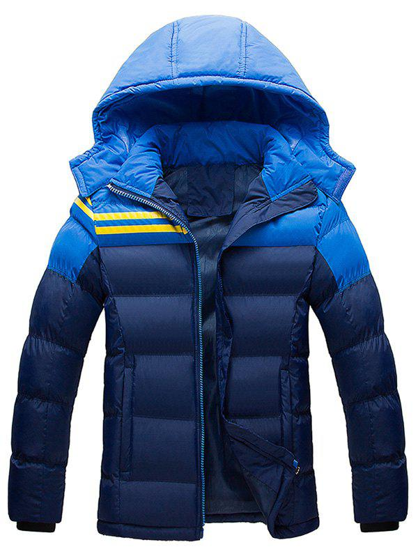 Hooded Plus Size Color Block Spliced Stripe Down Jacket - CADETBLUE XL