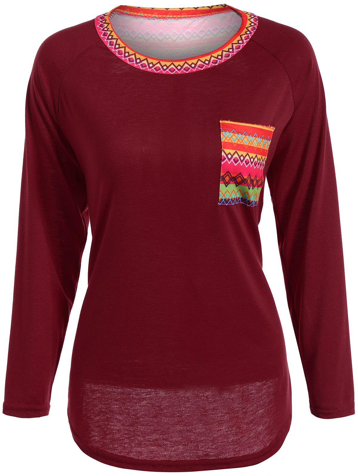 Round Neck Printed Pocket Tunic T-Shirt - RED S