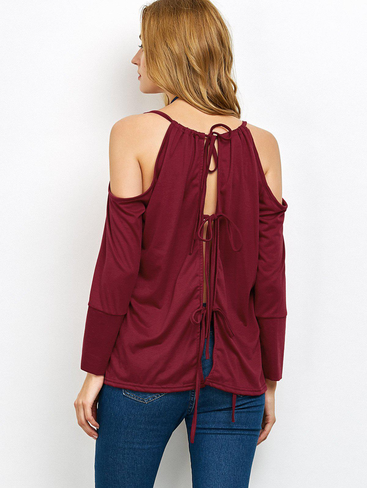 Cold Shoulder Lace Up Blouse - WINE RED M