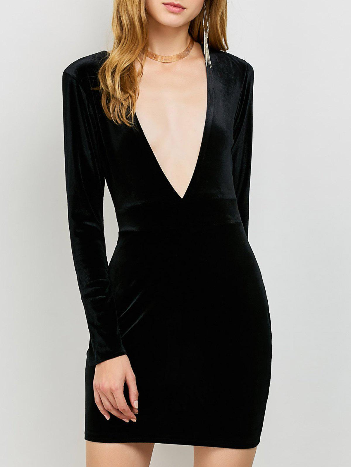 Low Cut Velvet Bodycon Long Sleeve Dress