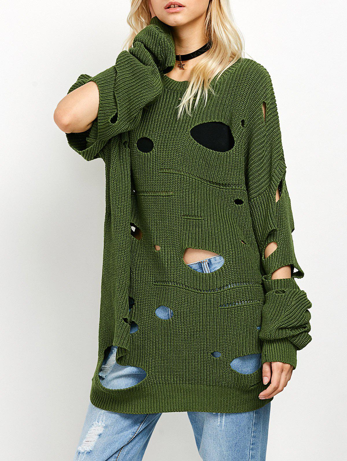 Crew Neck Cut Out Sweater - GREEN L