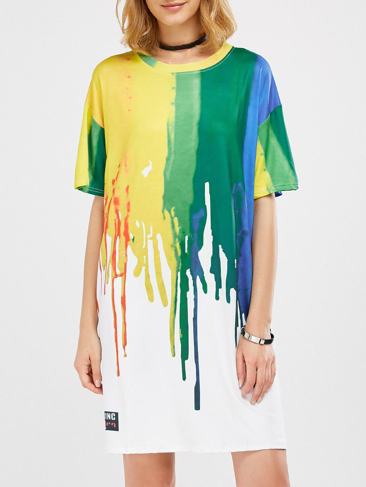 Splatter Paint T-Shirt Dress - COLORMIX L