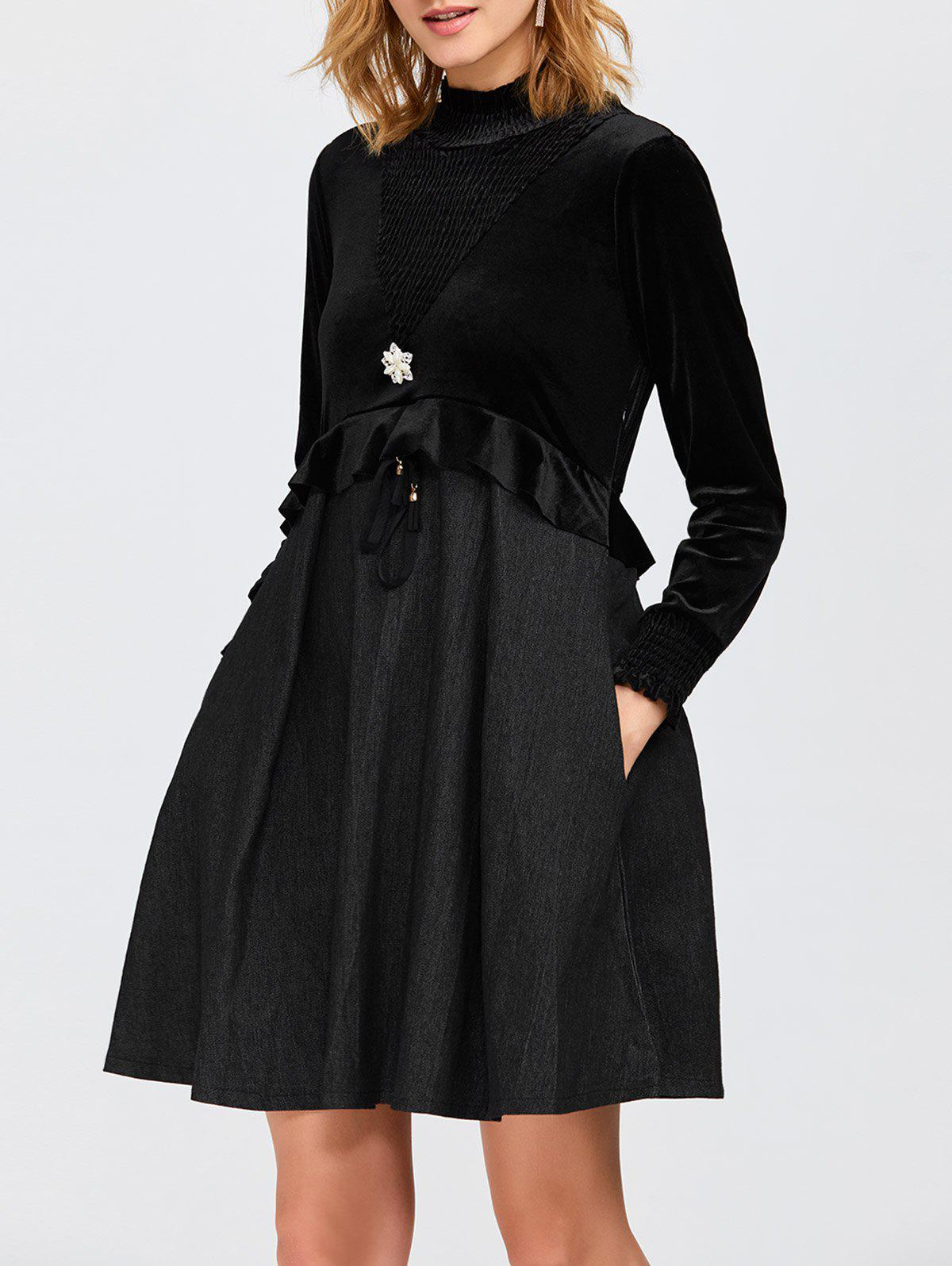 High Neck Ruffled Velvet Panel Swing Dress - BLACK S
