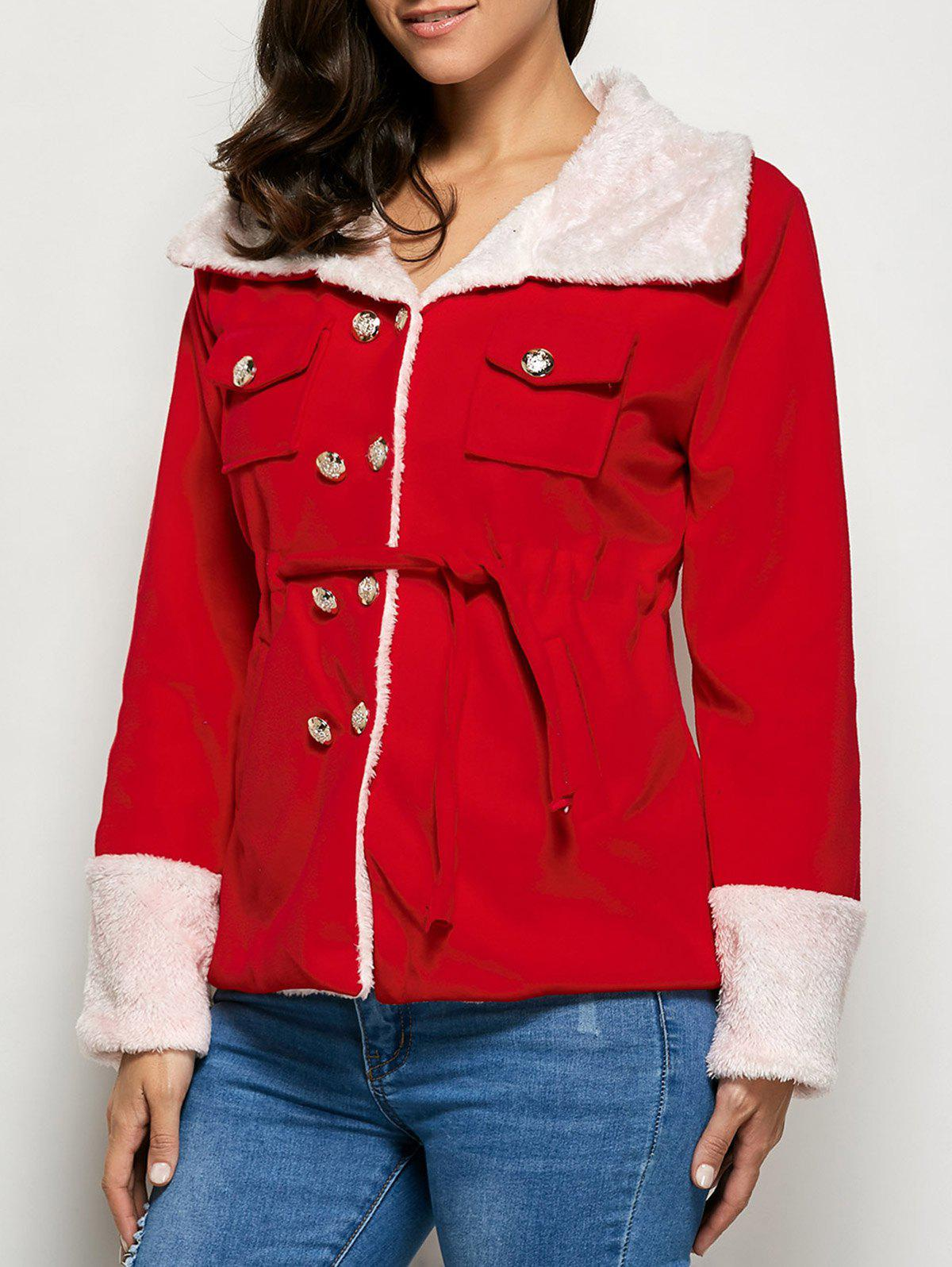 Shearling Button Up JacketWomen<br><br><br>Size: L<br>Color: RED