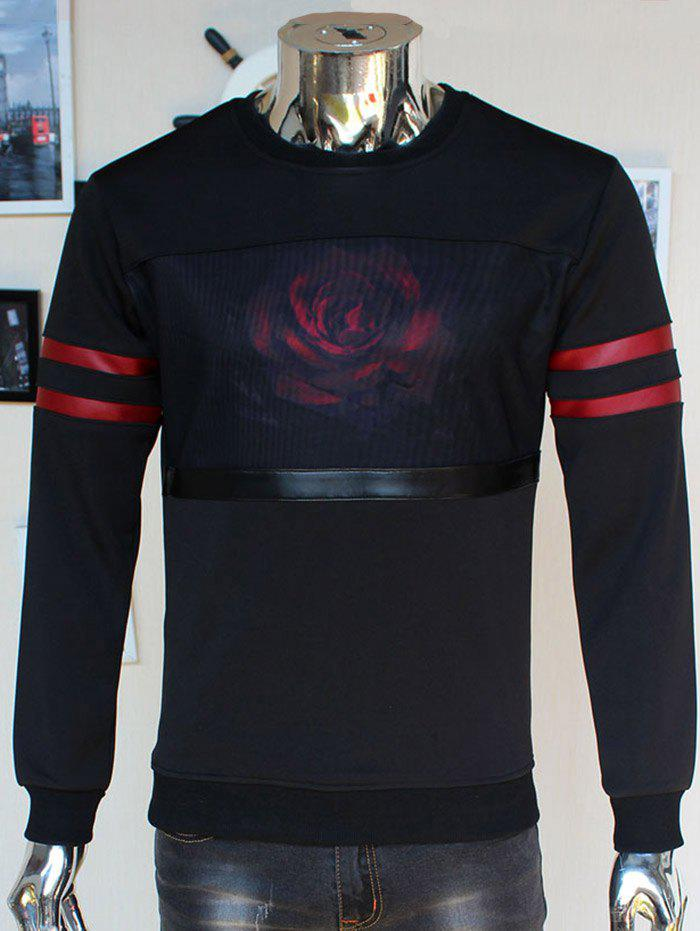 Flocking Crew Neck 3D Rose Print Stripe Spliced Sweatshirt - BLACK 2XL