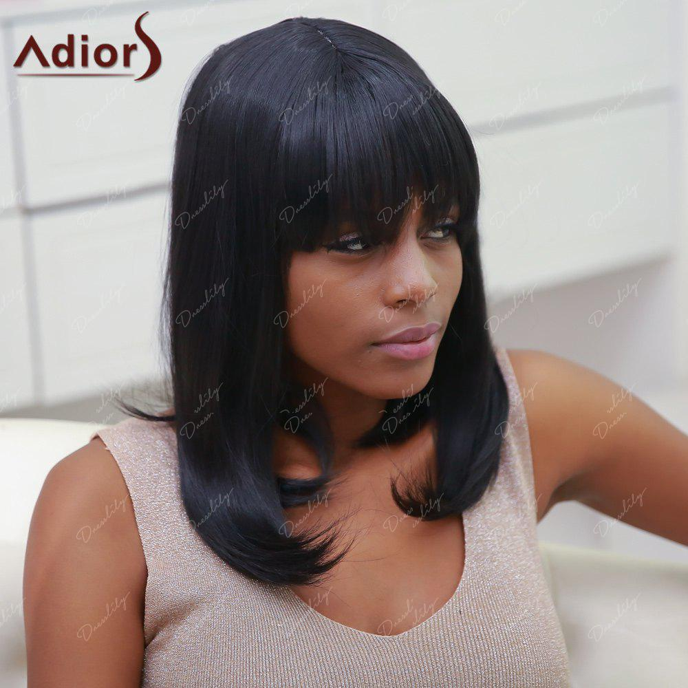 Women's Stylish Synthetic Straight Full Bang Medium Bob Wig - BLACK