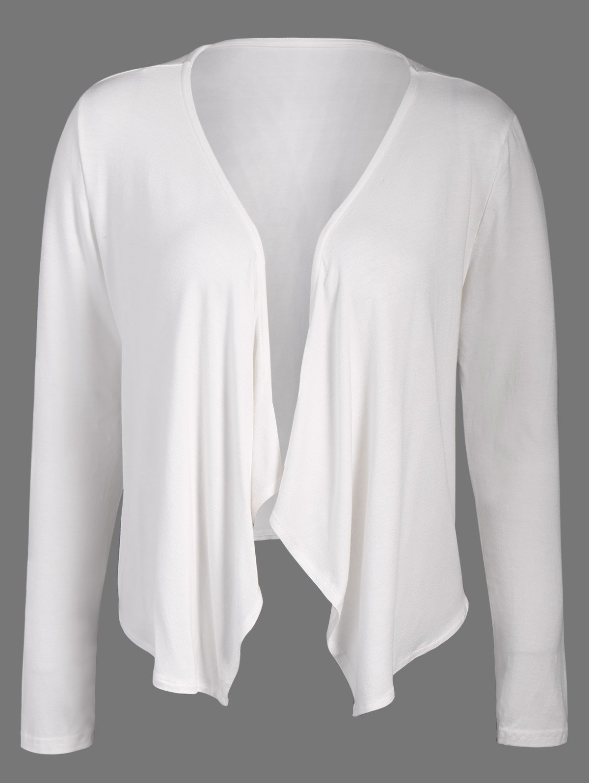 Short Collarless Drape Cardigan - WHITE XL